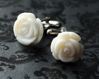 White Rose Coral Cufflinks
