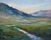 ICELAND Art Peaceful Morning Landscape Original Pastel Painting Karen Margulis 9x12