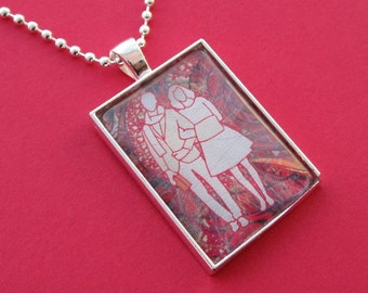 Pendant Necklace Linked Couple Art Print Man and Woman Arm in Arm in Red and White