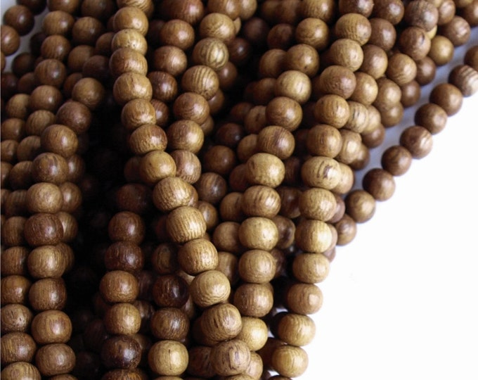 WDRD-05RB - (Five) Wood Bead, Round 5mm, Robles - 16 Inch Strands