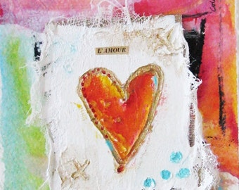 Acrylic on scrim and paint on cardboard, Heart, l'Amour, small painting, miniature, original