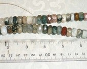 "Ocean Jasper Faceted Rondel Stone Beads - Gorgeous 16"" strand - 12mm x 9mm"