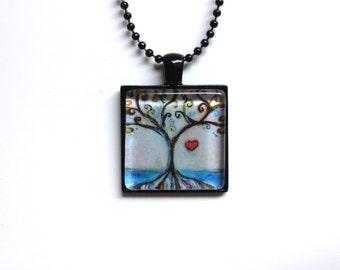 Tree of life Love Heart Spiritual painting Art Glass Tile Pendant Necklace