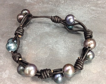 Leather & Raven Freshwater Pearls