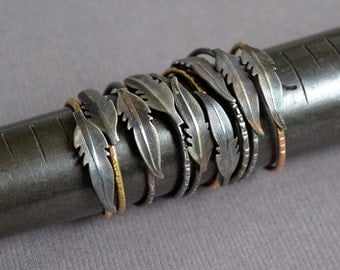 Feather Ring- stacking ring in oxidized silver and gold