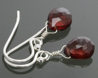 Red Garnet on Sterling Silver Ear Wires - Earrings - January Birthstone s15e015