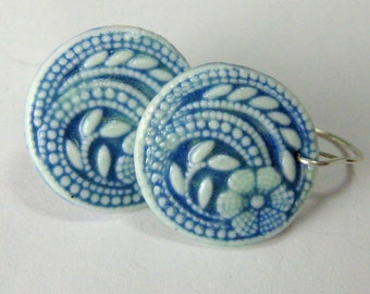 Porcelain Earrings Blue and Celadon Green Dot Flower with Hand Forged Sterling Silver Earwires Free Domestic Shipping