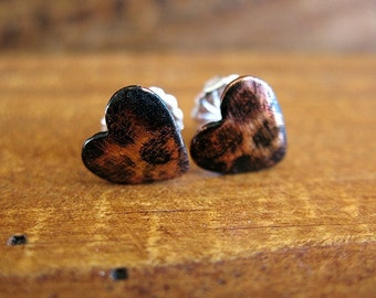Distressed Blackened Heart Post Earrings