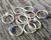 Dangle Free Knitting Stitch Markers - Purple Mix Silver Wire - Choose Ring Size and Quantity