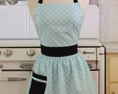Retro Apron Light Blue and White Deco Tile with Black CHLOE