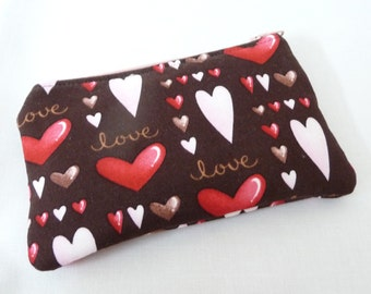 Small Zippered Bag, Brown, Pink and Red Valentine Hearts, Coin Purse, Gadget Case