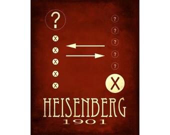 8x10 Heisenberg Poster, Rock Star Scientist Art Print, Uncertainty Principle Illustration, Quantum Mechanics Diagram Physics Science Theory