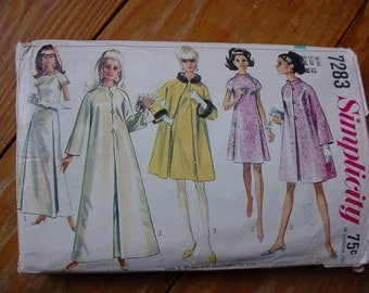 vintage 1967 Simplicity 7283 Size 12 Bust 32 Dress and Coat in 2 lengths