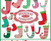 80% off Christmas stockings clipart commercial use included Lilly Bimble Instant Download stocking socks