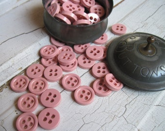 vintage pink buttons new old stock set of 25