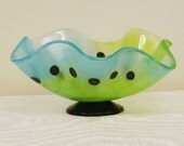 Fused Glass Footed Bowl Organic Shape in Lime and Turquoise