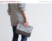 MOVING SALE READY To Ship Anemone Clutch in Warm Charcoal, Hand Printed, Anna Joyce