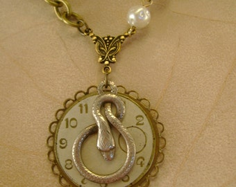 Good and Evil - Vintage Snake Watch Fob Pocket Watch Dial Pearls Recycled Repurposed Jewelry Necklace