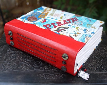 PIRATE ARRRRGH Art Journal Blank Book Japanese a Fabric with Red Leather Spine Sketch Book Journal