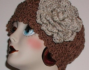 Brown Hat With Oatmeal Tweed Extra Large Flower Women's Cloche Dark Cream
