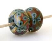 Deep GREEN and RAKU Flower Pair Handmade Lampwork Glass Bead - taneres