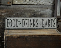 Distressed Food Drinks Darts Sign - Rustic Hand Made Vintage Wooden ENS1000679