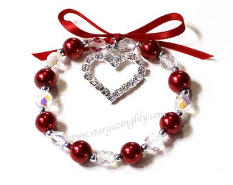 Be my Valentine Rhinestone Heart charm bracelets with red pearls and crystals. A great gift a girl of any age. YOU CHOOSE COLOR