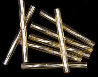 25mm Silver Lined Light Topaz Twist Bugle (40 grams) #CBQ003