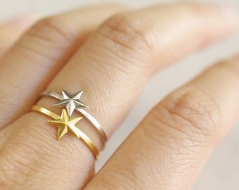 nautical star ring . star stacking ring . silver star ring . gold star ring . wish ring . simple star ring . dainty ring // 4LSTR