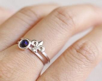 fleur de lis ring . fleur de lis jewelry . fleur de lys ring . stackable fleur de lis ring . fleur de lis stacking ring // 4FLIS