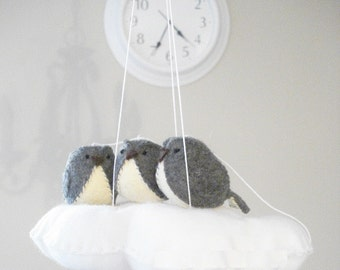 Gender neutral baby mobile in grey and white - cloud and birds