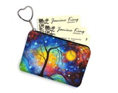 MadArt Business Card Holder Fabric Pouch Key Fob Small Zipper Bag Coin Purse Key Chain   Winter Sparkle  blue purple yellow red RTS