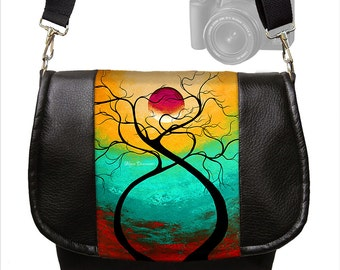 MadArt  Dslr Camera Bag Purse Vegan Leather Camera Case Slr Messenger Bag Nikon Canon Twisting Love Moon Tree aqua red yellow  MTO