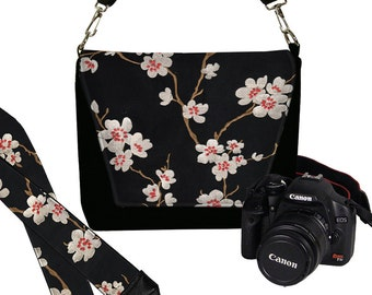 SET Dslr Camera Bag and Dslr Camera Strap, Asian Plum Blossom Camera Bag Slr and Camera Neck Strap, cherry red black white MTO