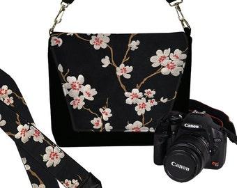 SET Dslr Camera Bag and Dslr Camera Strap, Asian Plum Blossom Camera Bag Slr and Camera Neck Strap, cherry red black white MTO