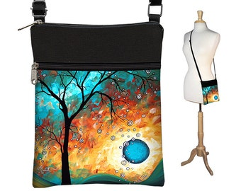 MadArt Sling Bag Shoulder Purse Cross Body Bag Small Travel Purse Zipper  Fits eReaders Aqua Burn RTS