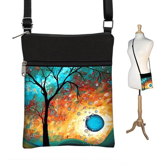 MadArt Sling Bag Shoulder Purse Cross Body Bag Small Travel Purse Zipper  Fits eReaders Aqua Burn RTS