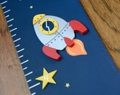 Space Rocket Wooden Growth Chart, handpainted, FREE nail cover and personalization