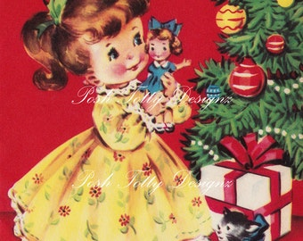 1940s A Little Girl By The Christmas Tree Vintage Digital Download Printable Images (455)
