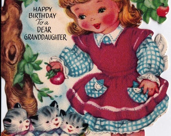 Vintage Gibson 1950's Happy Birthday To A Dear Granddaughter Greetings Card (B15)