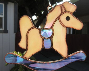 Stained Glass Purple & White Rocking Horse Ornament or Suncatcher