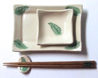 Ceramic Sushi Set, Handbuilt, Hand painted, Footed, Green Leaf