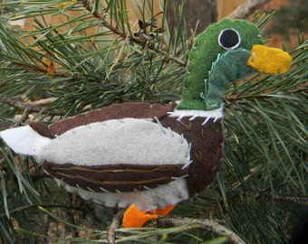 Mallard Duck Felt Bird Ornament,embroidered, Home Decor