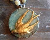 swallow, stones, sea assemblage necklace
