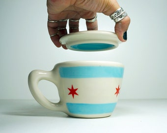 NEW - one (1) chicago flag 12oz cup/mug with lid. Made to Order.