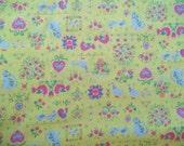 Vintage Wamsutta Lowenstein Folk Gallery Fabric Yellow Green Blue Pink Floral Animal Hearts 100% Cotton BTY
