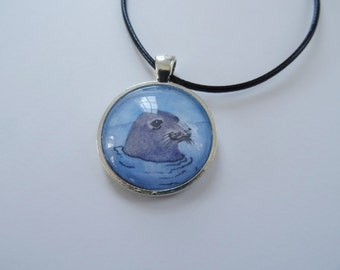 Seal Necklace, Seal Jewelry SALE, Seal Pendant and Chain, Marine Mammal, Seal Art, Blue and Gray, Beach Necklace Jewelry
