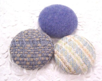 Blue mix - 3 fabric covered buttons - 1.5 inches - size 60 - only one set available
