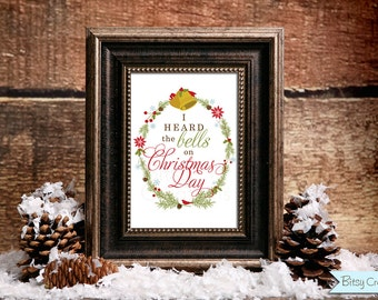 Christmas Bells Printable Wall Art by BitsyCreations Instant Download
