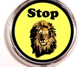 Stop Lion Pill Box Case Pillbox Hipster Humor Animal King of the Jungle